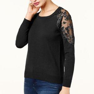 I.N.C. Lace-Shoulder Black Sweater